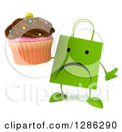 Clipart Of A 3d Unhappy Green Shopping Or Gift Bag Character Shrugging And Holding A Chocolate Frosted Cupcake Royalty Free Illustration