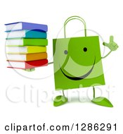Clipart Of A 3d Happy Green Shopping Or Gift Bag Character Holding Up A Finger And A Stack Of Books Royalty Free Illustration