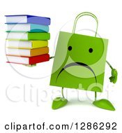 Clipart Of A 3d Unhappy Green Shopping Or Gift Bag Character Holding A Stack Of Books Royalty Free Illustration
