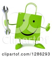 Clipart Of A 3d Happy Green Shopping Or Gift Bag Character Holding A Wrench And A Thumb Up Royalty Free Illustration