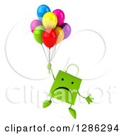 Clipart Of A 3d Unhappy Green Shopping Or Gift Bag Character Floating With Party Balloons Royalty Free Illustration