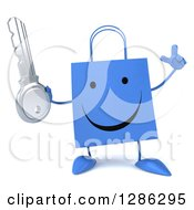 Clipart Of A 3d Happy Red Shopping Or Gift Bag Character Holding Up A Finger And A Key Royalty Free Illustration