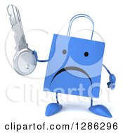 Clipart Of A 3d Unhappy Red Shopping Or Gift Bag Character Holding A Key Royalty Free Illustration