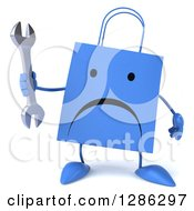 Clipart Of A 3d Unhappy Red Shopping Or Gift Bag Character Holding A Wrench Royalty Free Illustration