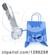 Clipart Of A 3d Happy Red Shopping Or Gift Bag Character Holding Up A Key Royalty Free Illustration
