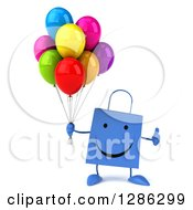 Clipart Of A 3d Happy Red Shopping Or Gift Bag Character Holding A Thumb Up And Balloons Royalty Free Illustration