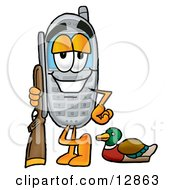 Clipart Picture Of A Wireless Cellular Telephone Mascot Cartoon Character Duck Hunting Standing With A Rifle And Duck by Toons4Biz