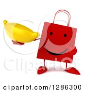 Clipart Of A 3d Happy Red Shopping Or Gift Bag Character Holding And Pointing To A Banana Royalty Free Illustration