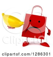 Clipart Of A 3d Unhappy Red Shopping Or Gift Bag Character Holding A Banana Royalty Free Illustration