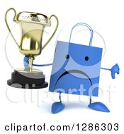 Clipart Of A 3d Unhappy Red Shopping Or Gift Bag Character Holding A Trophy And Thumb Down Royalty Free Illustration