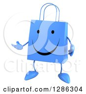 Clipart Of A 3d Happy Blue Shopping Or Gift Bag Character Presenting Royalty Free Illustration