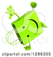 Clipart Of A 3d Happy Green Shopping Or Gift Bag Character Cartwheeling Royalty Free Illustration