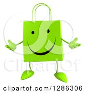 Clipart Of A 3d Happy Green Shopping Or Gift Bag Character Shrugging Royalty Free Illustration