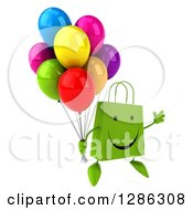 Clipart Of A 3d Happy Green Shopping Or Gift Bag Character Facing Slightly Right And Jumping With Party Balloons Royalty Free Illustration
