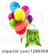 Clipart Of A 3d Happy Green Shopping Or Gift Bag Character Holding Up Party Balloons Royalty Free Illustration