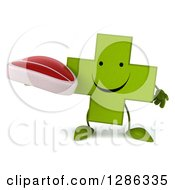 Clipart Of A 3d Happy Green Holistic Cross Character Holding A Beef Steak Royalty Free Illustration
