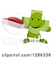 Clipart Of A 3d Happy Green Holistic Cross Character Holding And Pointing To A Beef Steak Royalty Free Illustration