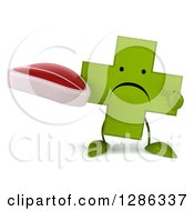 Clipart Of A 3d Unhappy Green Holistic Cross Character Holding And Pointing To A Beef Steak Royalty Free Illustration