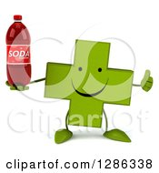 Clipart Of A 3d Happy Green Holistic Cross Character Holding A Thumb Up And Soda Bottle Royalty Free Illustration