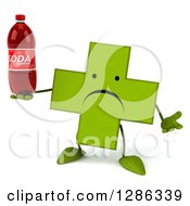 Clipart Of A 3d Unhappy Green Holistic Cross Character Shrugging And Holding A Soda Bottle Royalty Free Illustration