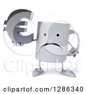 Clipart Of A 3d Unhappy Coffee Mug Holding A Euro Symbol Royalty Free Illustration