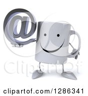 Clipart Of A 3d Happy Coffee Mug Holding An Email Arobase At Symbol Royalty Free Illustration