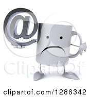Clipart Of A 3d Unhappy Coffee Mug Holding An Email Arobase At Symbol And Thumb Down Royalty Free Illustration