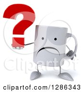 Clipart Of A 3d Unhappy Coffee Mug Holding A Question Mark Royalty Free Illustration