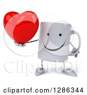 Clipart Of A 3d Happy Coffee Mug Holding A Heart Royalty Free Illustration