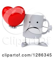 Clipart Of A 3d Unhappy Coffee Mug Holding A Heart And Thumb Down Royalty Free Illustration
