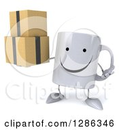 Clipart Of A 3d Happy Coffee Mug Shrugging And Holding Boxes Royalty Free Illustration