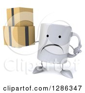 Clipart Of A 3d Unhappy Coffee Mug Shrugging And Holding Boxes Royalty Free Illustration