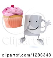 Clipart Of A 3d Happy Coffee Mug Jumping And Holding A Pink Frosted Cupcake Royalty Free Illustration