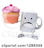 Clipart Of A 3d Unhappy Coffee Mug Shrugging And Holding A Pink Frosted Cupcake Royalty Free Illustration