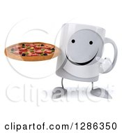 Clipart Of A 3d Happy Coffee Mug Holding And Pointing To A Pizza Royalty Free Illustration
