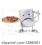 Clipart Of A 3d Unhappy Coffee Mug Holding Up A Finger And A Pizza Royalty Free Illustration