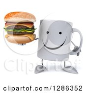 Clipart Of A 3d Happy Coffee Mug Holding A Double Cheeseburger Royalty Free Illustration