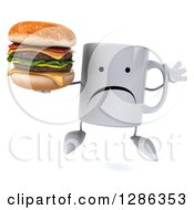 Clipart Of A 3d Unhappy Coffee Mug Jumping And Holding A Double Cheeseburger Royalty Free Illustration