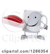 Clipart Of A 3d Happy Coffee Mug Holding A Beef Steak Royalty Free Illustration