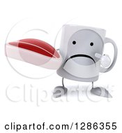 Clipart Of A 3d Unhappy Coffee Mug Holding And Pointing To A Beef Steak Royalty Free Illustration