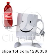 Clipart Of A 3d Happy Coffee Mug Holding A Soda Bottle Royalty Free Illustration