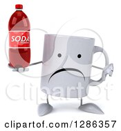 Clipart Of A 3d Unhappy Coffee Mug Holding A Soda Bottle And Thumb Down Royalty Free Illustration