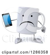 3d Unhappy Coffee Mug Holding A Smart Cell Phone