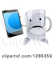 3d Unhappy Coffee Mug Holding Up A Smart Cell Phone