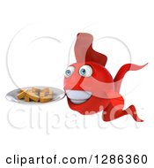 3d Red Fish Facing Left And Holding A Plate Of French Fries