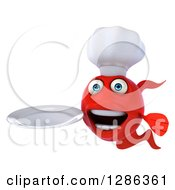 3d Red Fish Holding A Plate