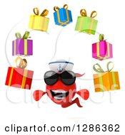 3d Red Sailor Fish Wearing Sunglasess And Juggling Gifts