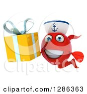 3d Red Sailor Fish Holding A Gift