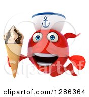 3d Red Sailor Fish Holding A Waffle Ice Cream Cone