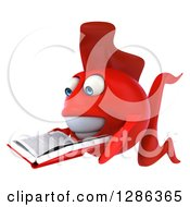 3d Red Fish Facing Left And Reading A Book